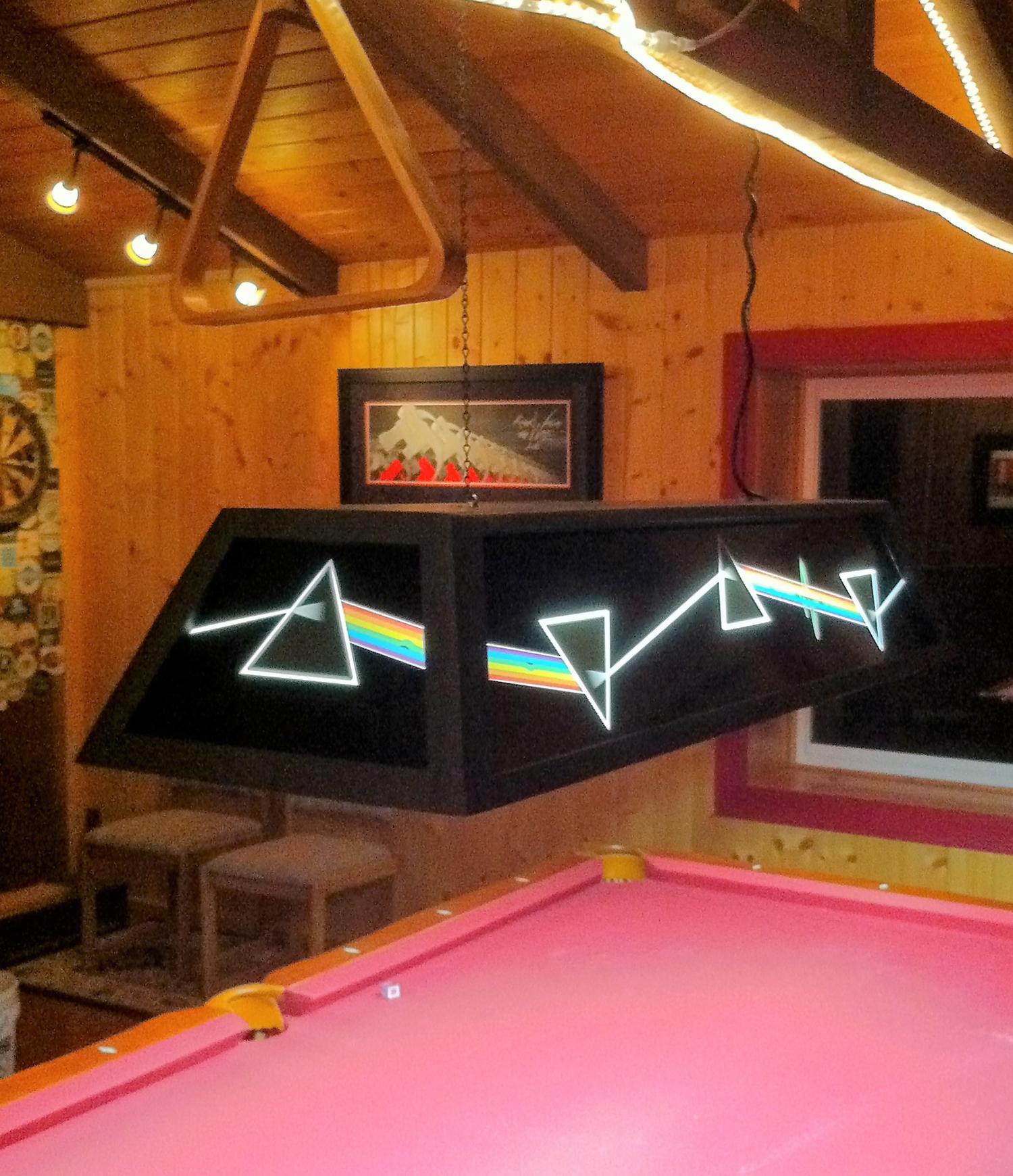 Pink Floyd Dark Side Of The Moon Pool Table Light Panels Raymond - Pink pool table felt