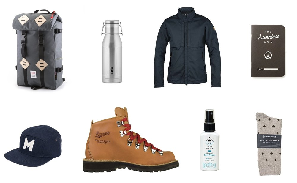 1) Topo Designs Klettersack in Charcoal2) Miir Heritage Howler in Stainless Steel3) Fjallraven Travelers Jacket 4) The Adventure Log by Word. Notebooks in Black5)Danner Portland Select Mountain Light Boot6) Ursa Major 4-in-1 Essential Face Tonic7) United by Blue Byers Bartrams Sock