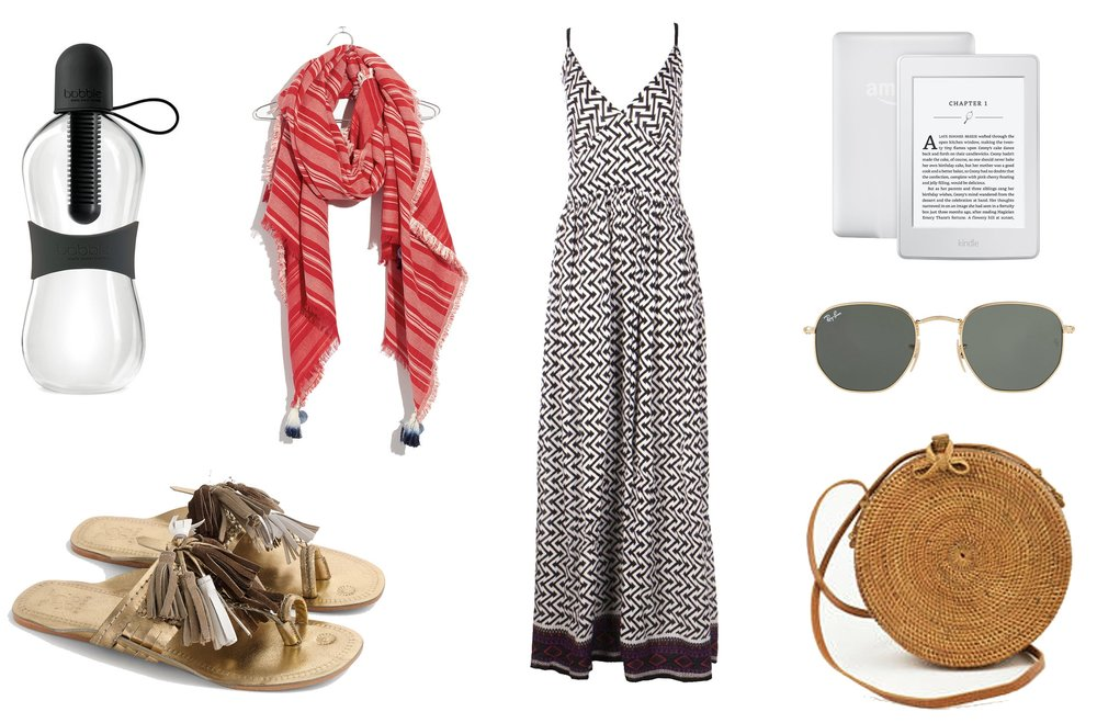 1)  Bobble Classic Water Bottle in Black  2)  Madewell Striped Convertible Scarf  3)  Boohoo Nuala Rope Back Mono Print Maxi Dress   4)  White Amazon Kindle  5)  Figue Scaramouche Sandals  6)  Ray-Ban Hexagonal Flat Lenses in Green Classic G-15  7)  Round Rattan Basket Bag