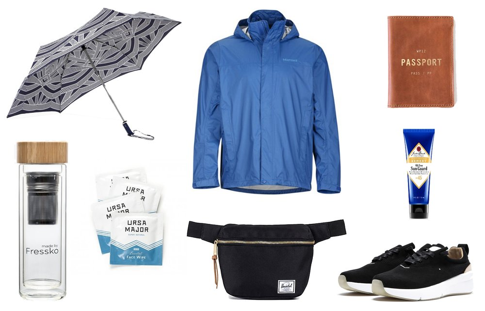 1)  ShedRain RainEssentials Compact Umbrella in Sophie  2)  Marmot PreClip Rain Jacket in Dark Cerulea n 3)  Whipping Post Passport Wallet  4)  Fressko Lift Flask  5)  Ursa Major Essential Face Wipes  6)  Herschel Supply Fanny Pack in Black  7)  Rawrow 210 Wax Sneakers  8)  Jack Black Sun Guard Sunscreen
