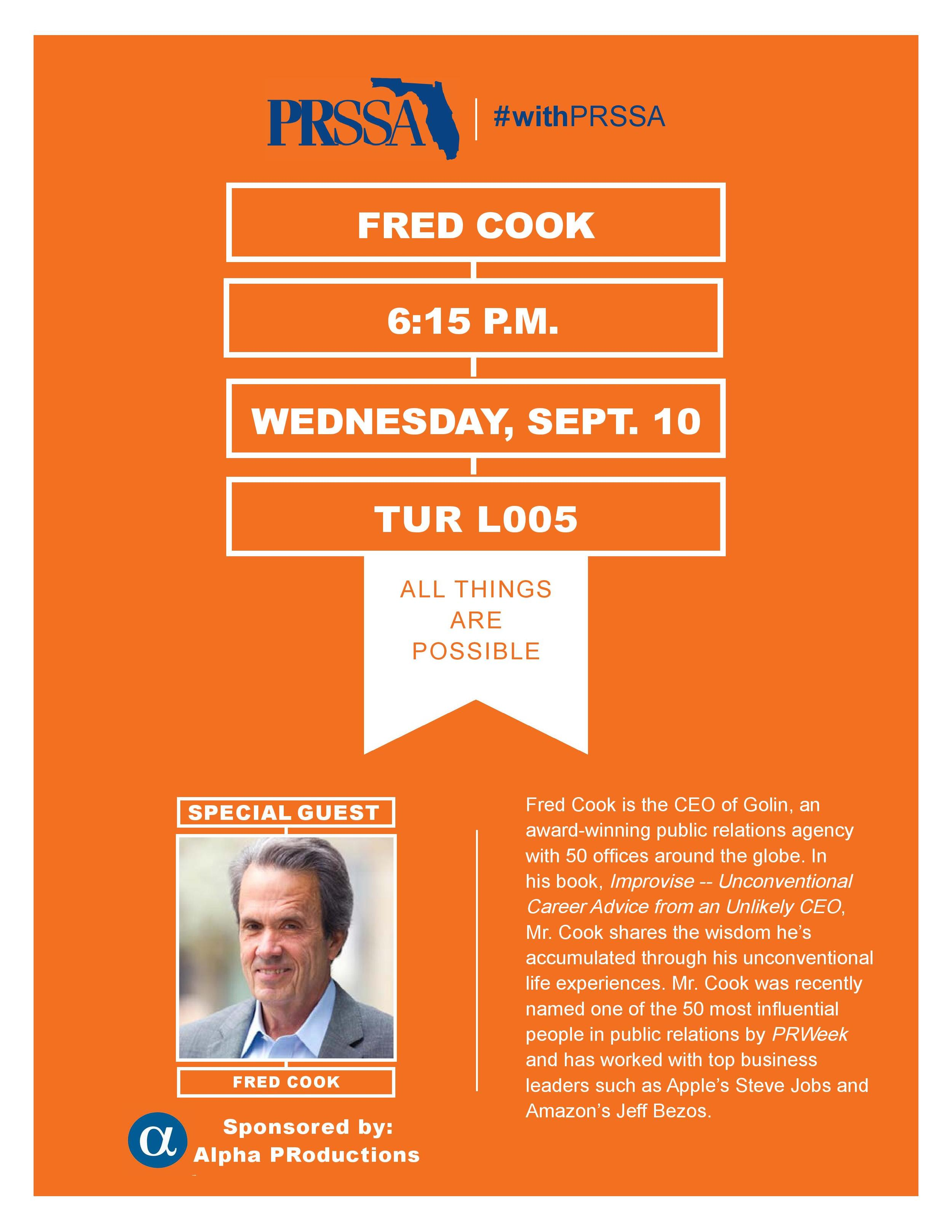 Fred Cook speaks at UF PRSSA
