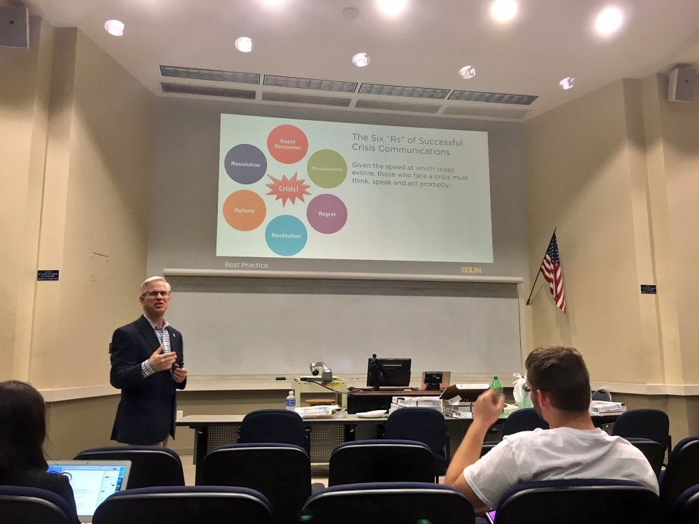 Scott Farrell speaking to UF PRSSA members about crisis communications online. Photo by UF PRSSA member Sydney Denninger.