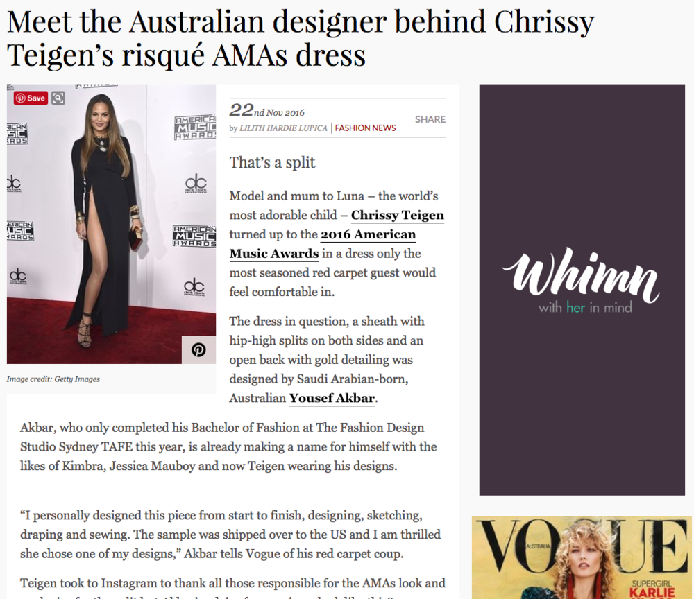 Vogue Australia - AMAs 2016