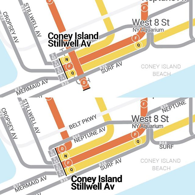 Bettering Coney Island.  Topics before, bottom is after. Cleaned up bus routes and the subway station at Stilwell to be more accurate and cleaner. Also shows that Stillwell is one big station served by 4 routes . Thanks to @swong529 for pointing this out!