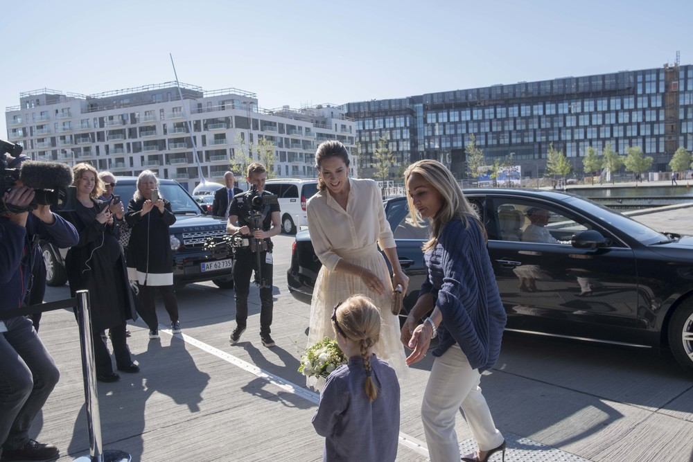 Her Royal Highness Crown Princess Mary arriving at Copenhagen Fashion Summit 2016.