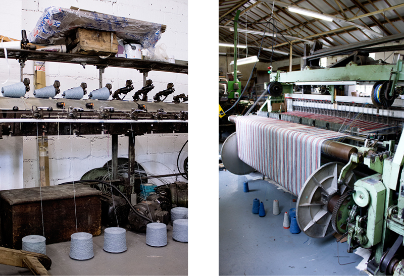 Left: Cone winder, right: 1970's loom.