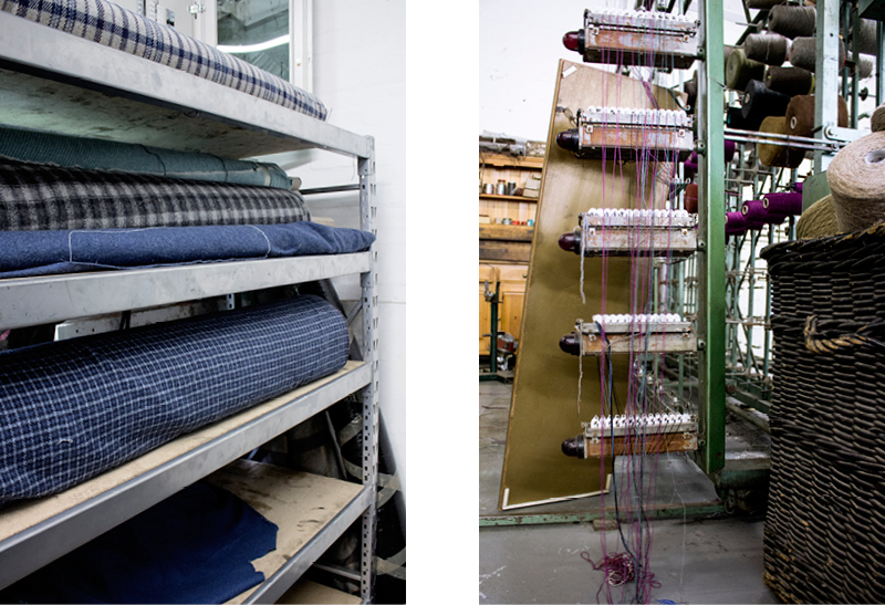 Above: Winding machine, below left: London City Farm fabric (second from below).