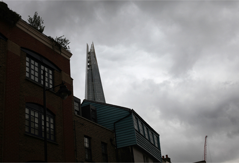 Grey skies towering over London Bridge.