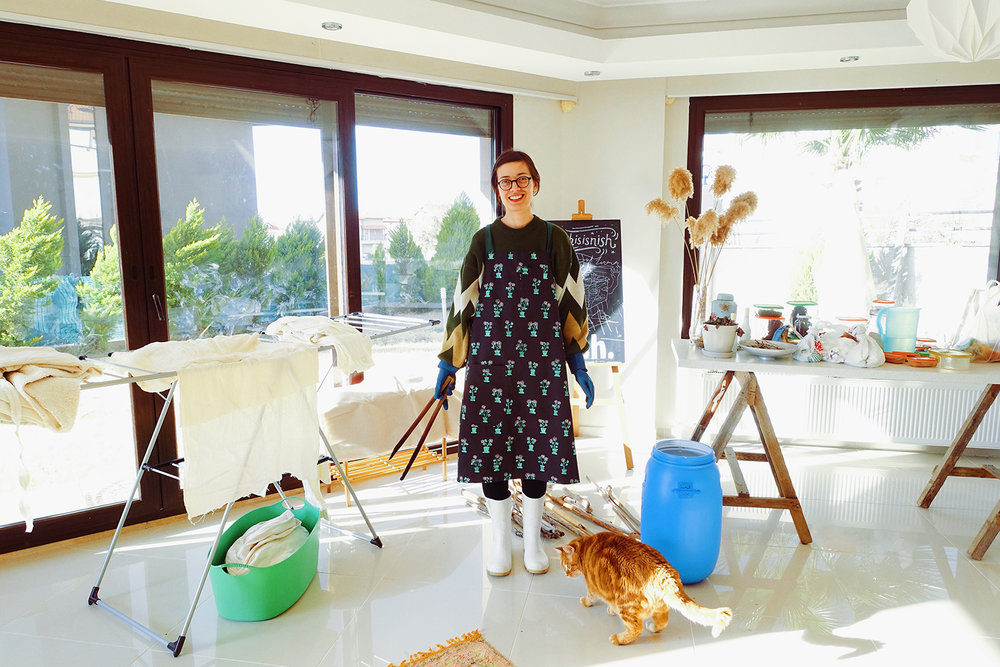 Özge in her studio