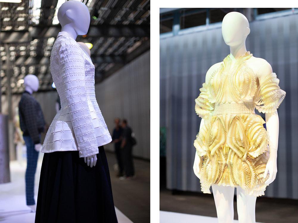 Left: design by Yuima Nakazato, right: design by Iris van Herpen.