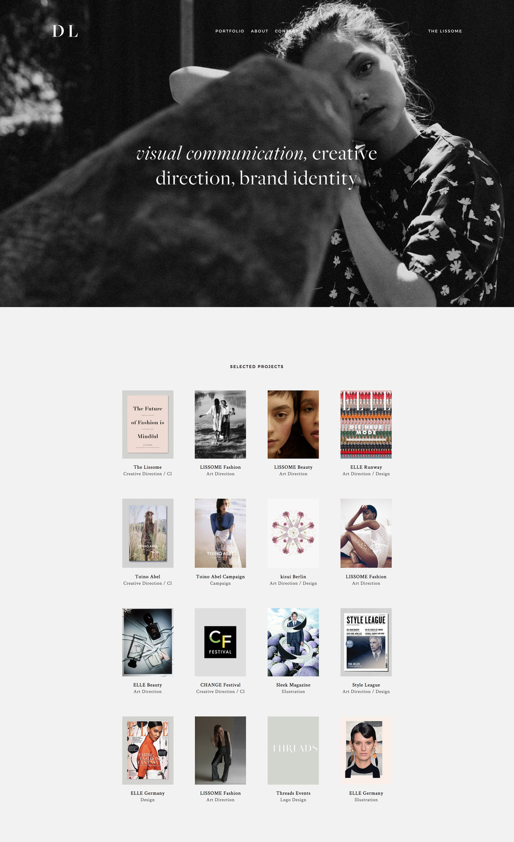 Webdesign for creative portfolio.