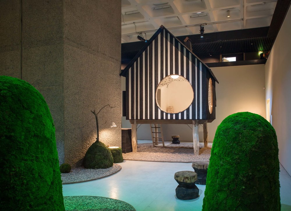 Photography by Ben Tynegate of Terunobu Fujimori Tea House at the Barbican exhibition The Japanese House: Architecture and Life after 1945
