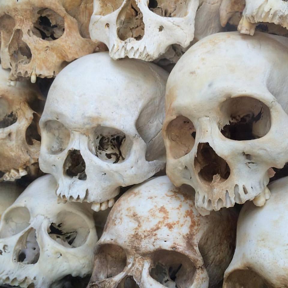 Skulls of victims in Cheung Ek Killing Field.