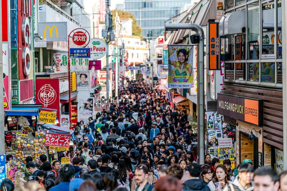"Takeshita Dori in Harajuku. Erin: ""It was a crowded place so it was really hard to walk. I like that we got to go to many stores!"""