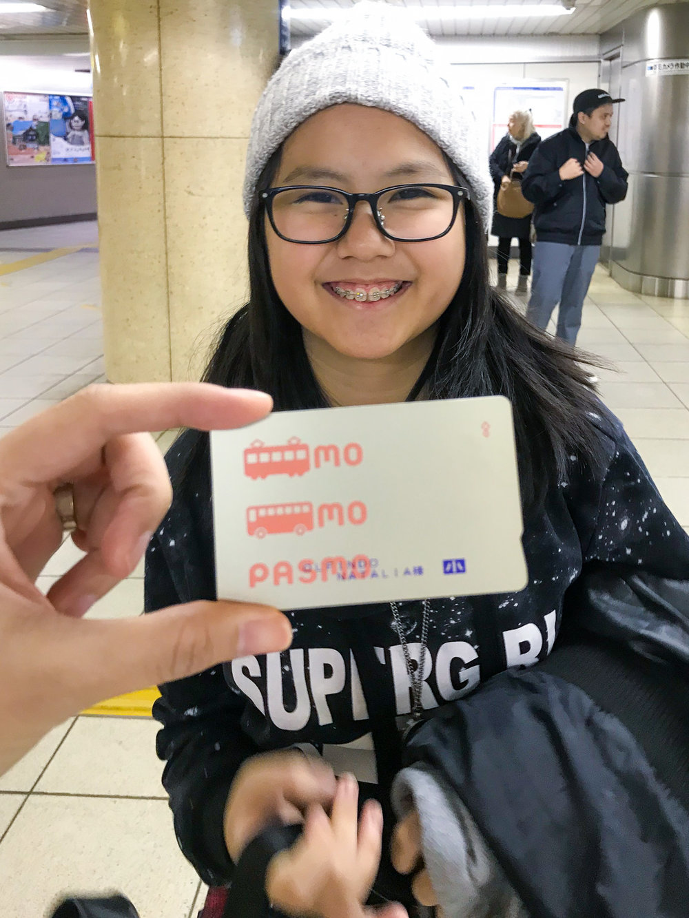 Get a  P  ASMO  card at the Narita or Haneda airports, train stations, or bus stops. It works like a pre-paid card to pay for your transportation, in shops, and even vending machines. Kids enjoy special commuter rates so make sure you have their identification on hand when purchasing their  PASMO  passes.