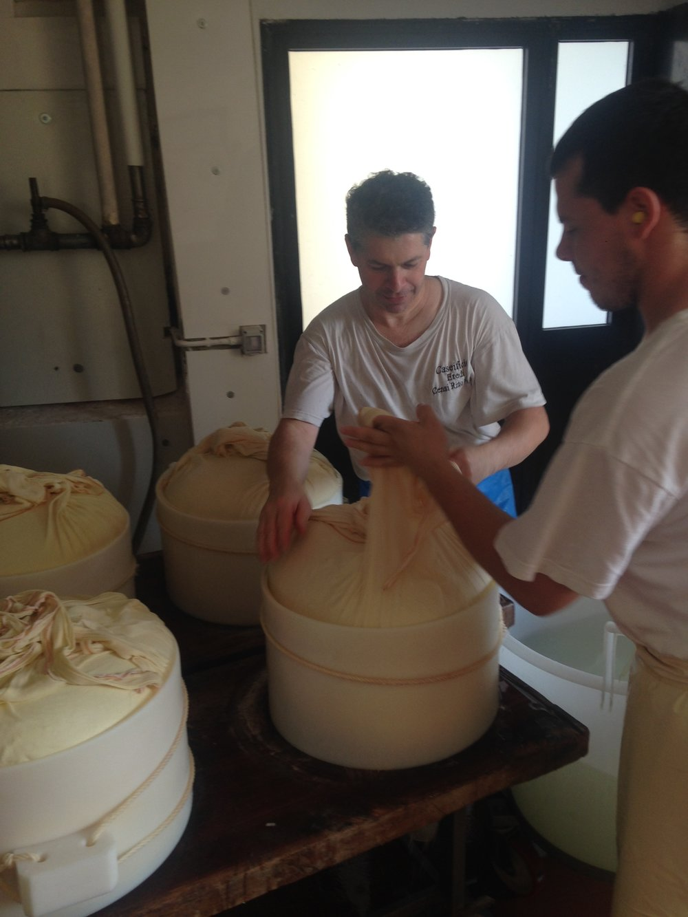 Parmesan making in progress