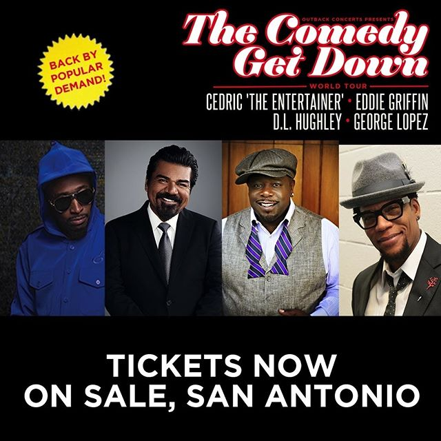 🔥Tickets On Sale Now!🔥 The Comedy Get Down Tour hits the @attcenter April 6. Don't miss your chance to see comedy legends Cedric The Entertainer, Eddie Griffin, D.L. Hughley, and George Lopez for one incredible night of comedy!  #cgdtour #comedygetdown #cedrictheentertainer #eddiegriffin #dlhughley #georgelopez #sanantonio #sanantoniotexas #sanantoniotx #attcenter