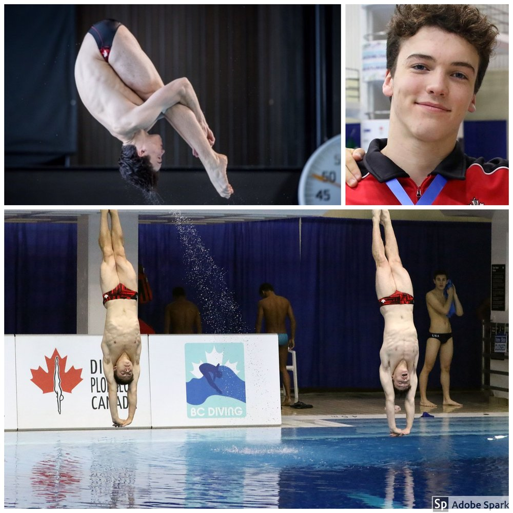 Henry McKay - Henry has been a member of the Nepean Ottawa Diving club since 2007 and on the Junior National Diving team since 2011. Since 2015 Henry has trained at a national training centre for diving at TPASC / CSIO in Toronto.National and International Highlights:Sept 2017 - 2017 Jr Pan American Games (Victoria) - Gold 3M Synchro, Bronze A PlatformJan 2018 - 2018 Senior Nationals - Silver 3M Synchro, Bronze 1M, 5th 3MApril 2018 - 2018 Dresden Youth International - Gold 3M SynchroMay 2018 - 2018 Junior Elite Nationals - Gold 3M Synchro, Silver 3M, Silver 1MJuly 2018 - 2018 Junior Worlds (Kiev) - Gold 3M Synchro, 4th place 1MAugust 2018 - 2018 Summer Senior Nationals - Gold 1M, Bronze 3M