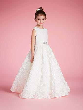 Alfred Angelo - Alfred Angelo carries adorable flower girl dresses made especially for the littlest member of your wedding party. Their designer flower girl dresses are available in white and ivory and up to 62 Dream in Color shades. Sizes range from Toddler's 2 to Girl's 16.