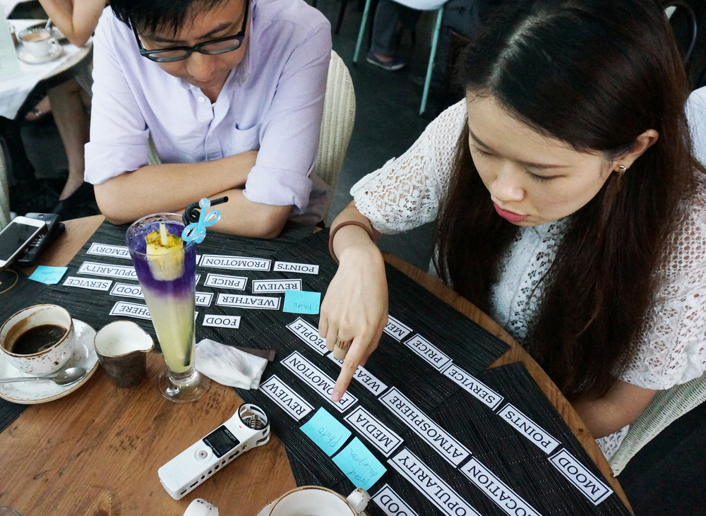 Designed card sorting tool to understand  de    cision making pro    cess and priority  when selecting a restaurant under different purpose of dining
