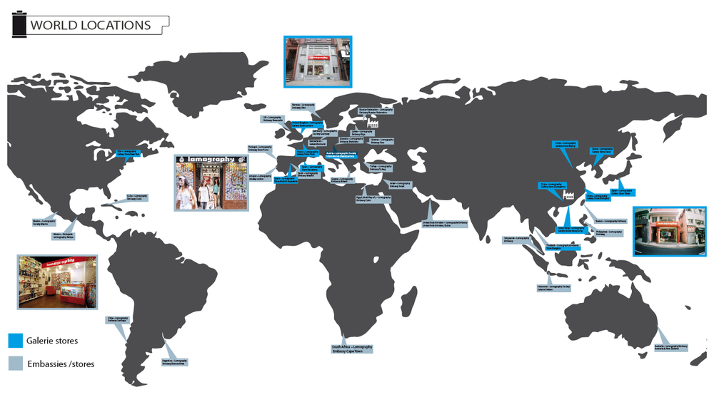 Lomography Worldwide locations, distribution of retail stores