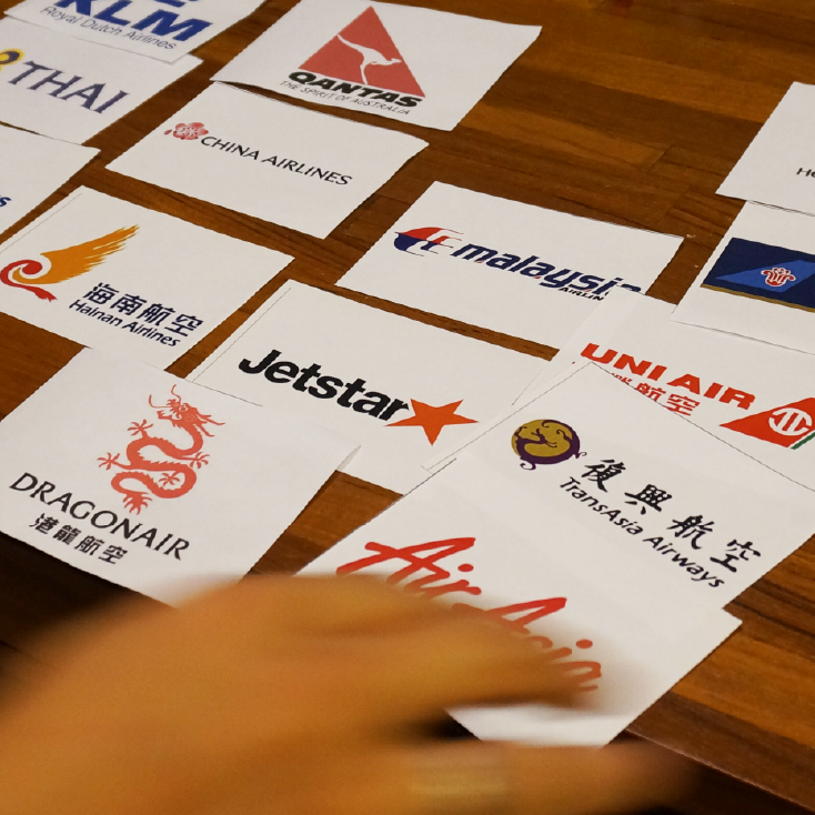 Card sorting  comparing airlines including  international ones, local ones, and low cost carriers  enable us to see how users view all these airlines