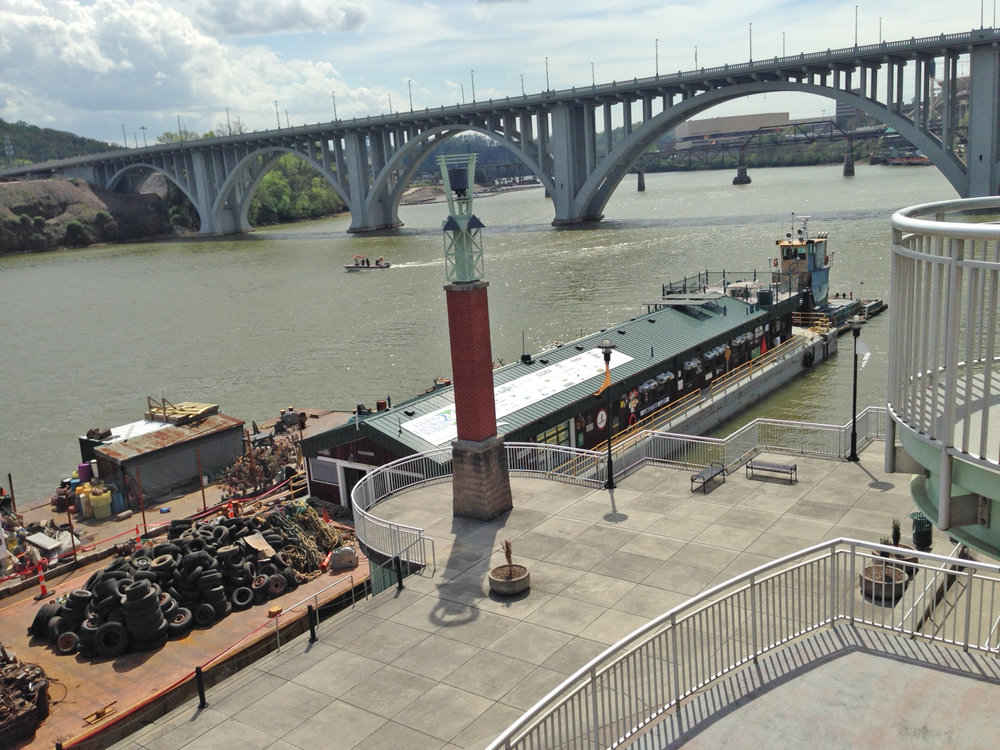 Living Lands & Waters barge docked at Volunteer Landing in Knoxville, Tennessee during the 2015 Tennessee River Tour.