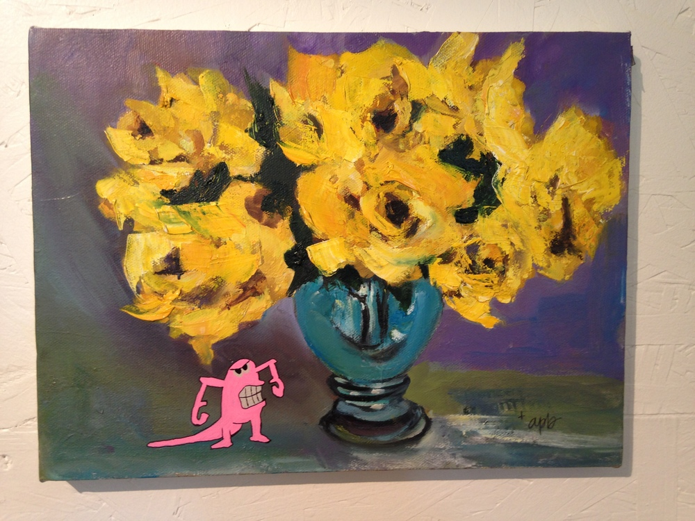 Pink monster with yellow flowers