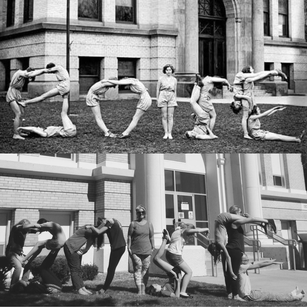 Boise girls, 1933 and 2016. Outside Boise High School, downtown Boise. Top image courtesy of Idaho Historical Society Archives & Library.