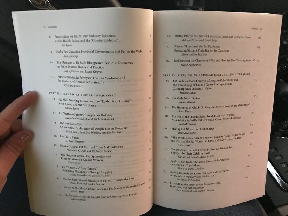 I recently read   The Fat Studies Reader   by Esther Rothblum & Sondra Solovay (who, coincidentally, I did a peer review of a journal article for recently) in the car on Monday nights while Lucy is at piano lessons. This snap is of some of the incredibly rich and diverse table of contents.