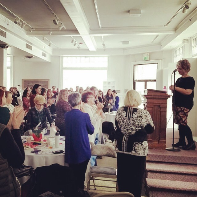 This photo was snapped just after I ended my keynote speech on taking up space and fat feminism at the Lewis-Clark State College Women's Leadership Conference a few weeks ago on International Women's Day. This standing ovation really shook me up.