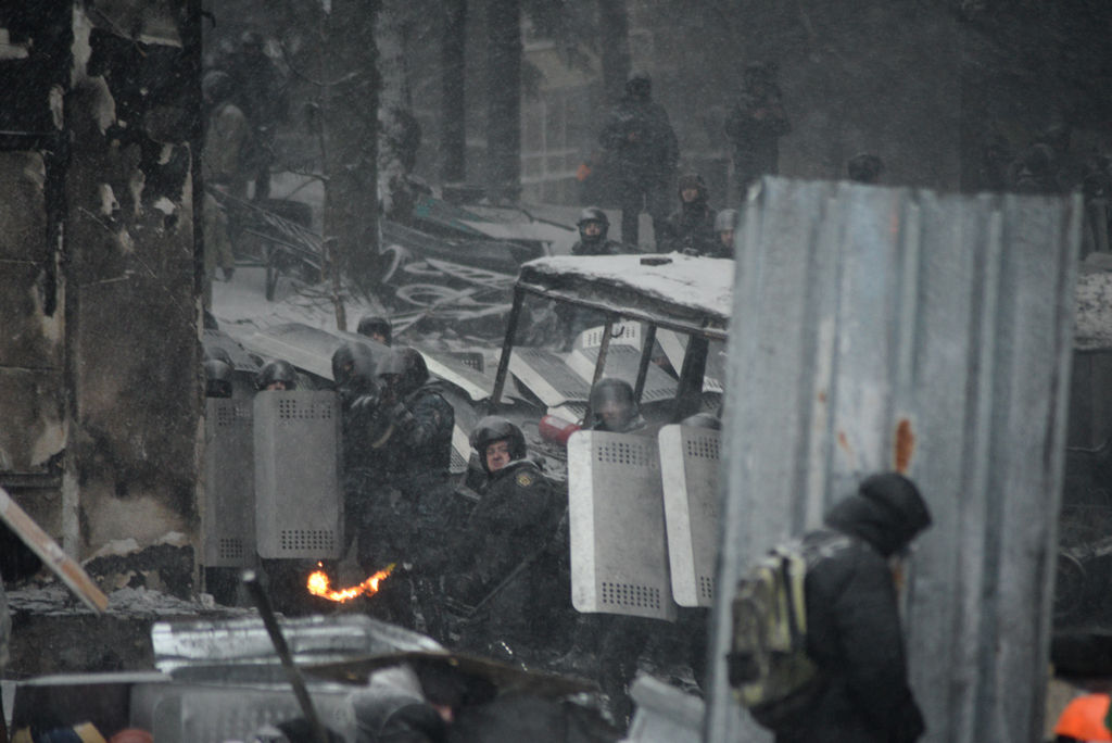 Clashes between police and protesters in Kyiv. (Source: Wikipedia)