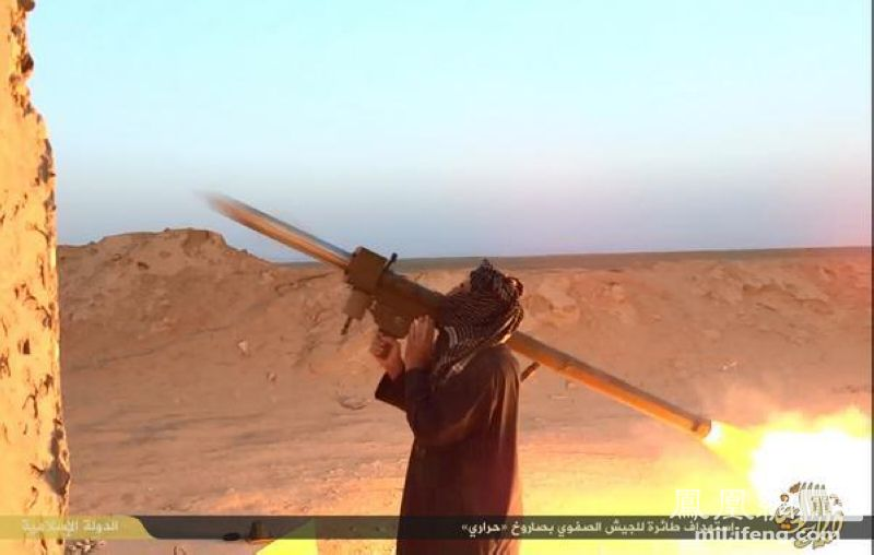 An ISIS fighter fires a Chinese FN-6 MANPADS