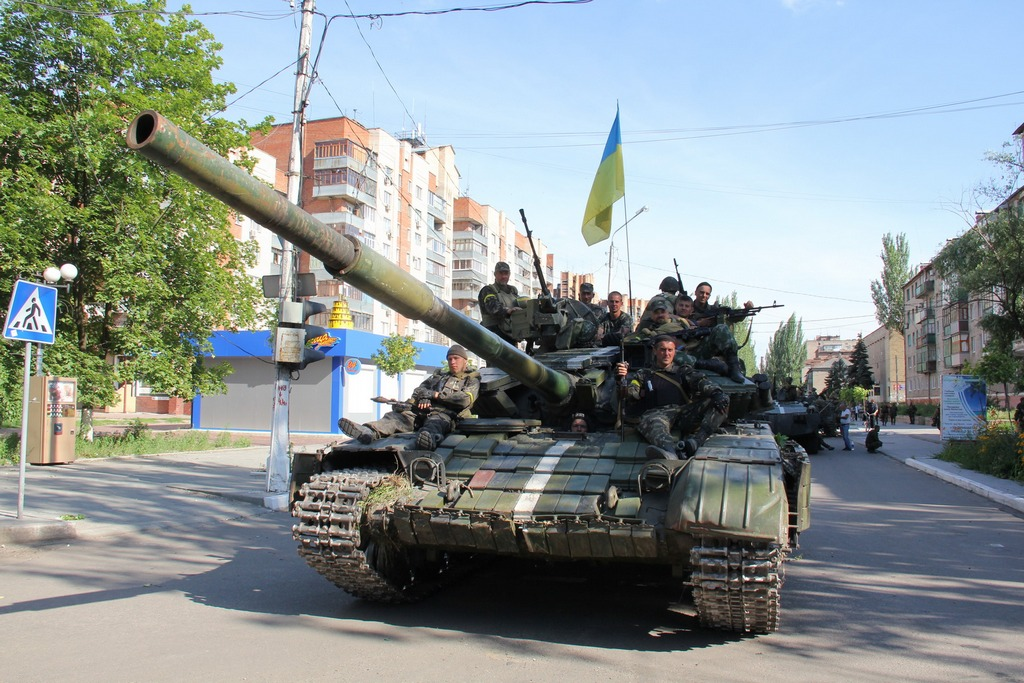 "A Ukrainian Army tank deployed earlier this year during their ""Anti Terrorist Operation"" in Donbass (Source: UA Military)"