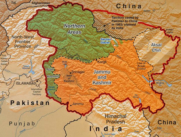 A map of the Line of Control (LOC) in Kashmir.