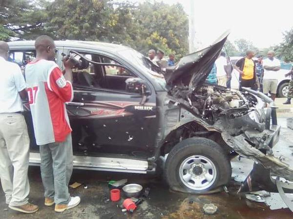 Adolphe Nshimirimana's car after rocket attack.