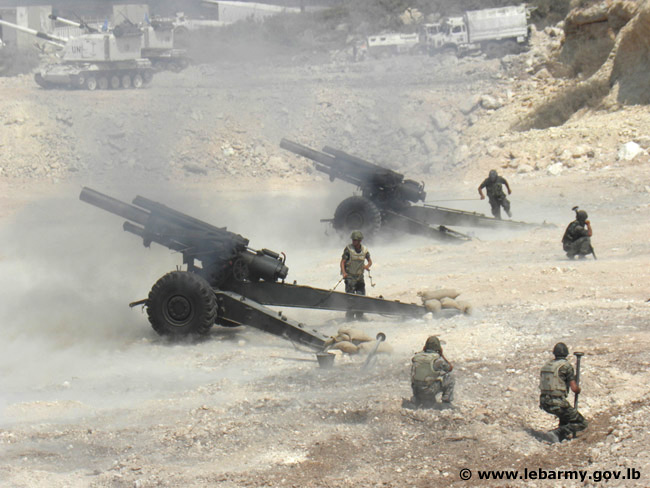 Lebanese Army artillery training.