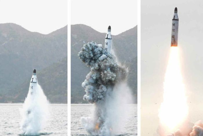 Images released by North Korea media of an SLBM launch. Image: Rodong Sinmun.
