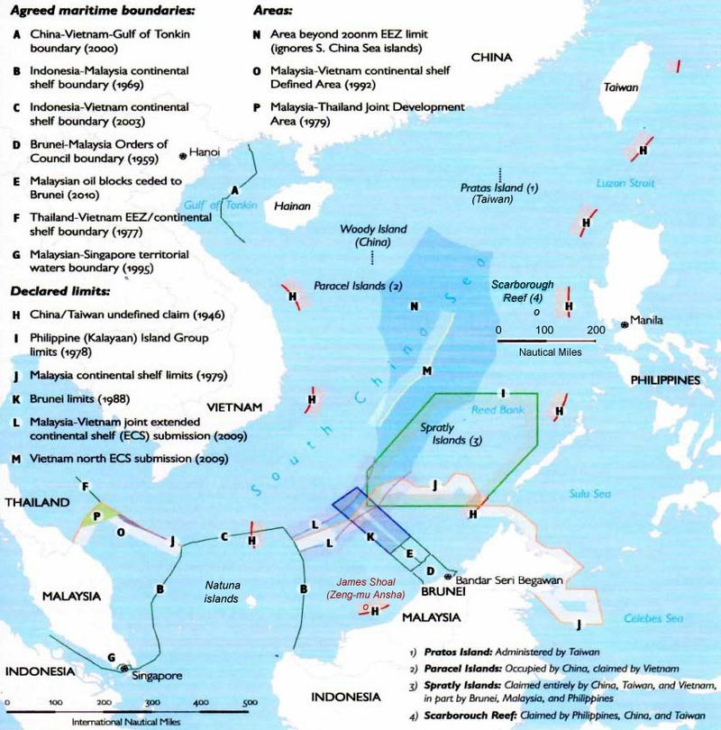 Overlapping territorial claims in the South China Sea. Image: Wikipedia.