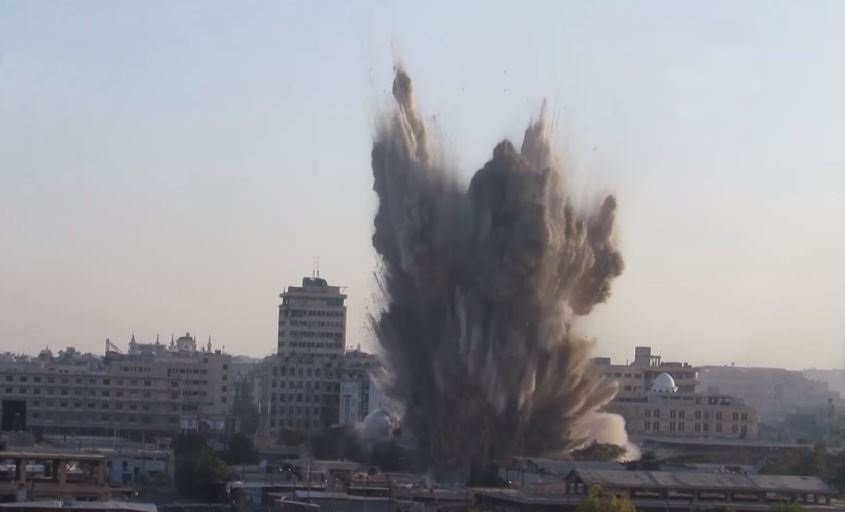 A rebel tunnel bomb is detonated under a regime position in Aleppo City.