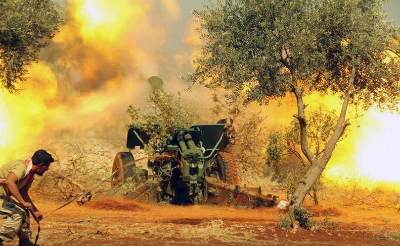 Jaish al-Fatah artillery firing on regime positions in Southern Aleppo.