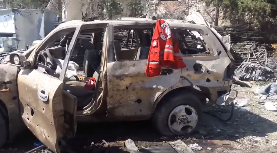 A vehicle belonging to a Red Crescent aid convoy which was allegedly bombed on the night of the 19th of September. Image: Syrian Civil Defense.