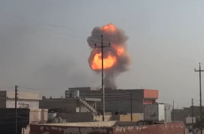 An ISIS suicide car bomb detonates in eastern Mosul.