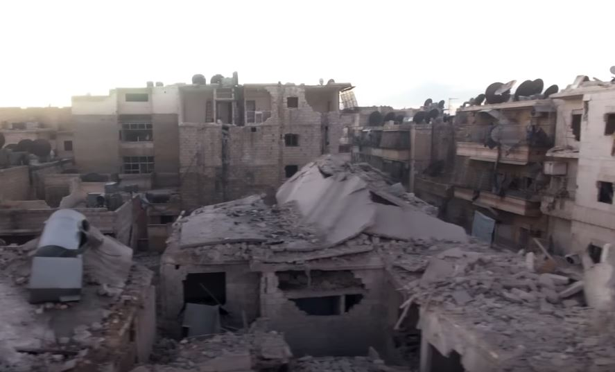 Drone image of destruction in Aleppo. Image: Aleppo Media Center.