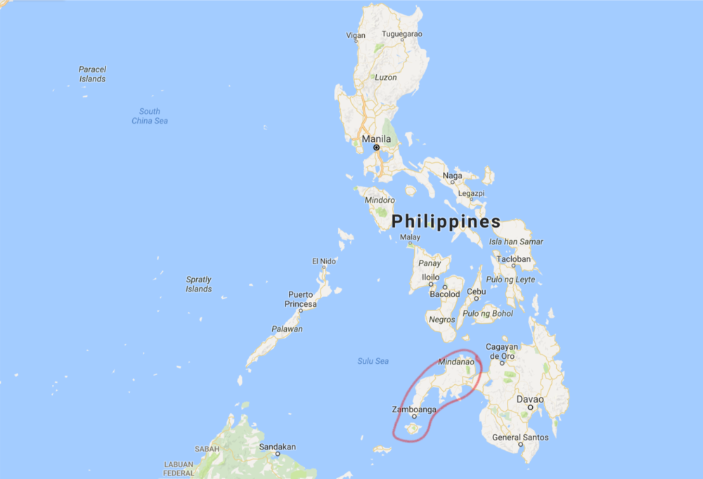 The area where IS operates in the south of the Philippines marked in red
