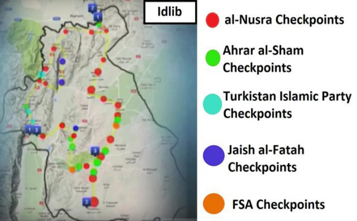 Map of checkpoints in Idlib province