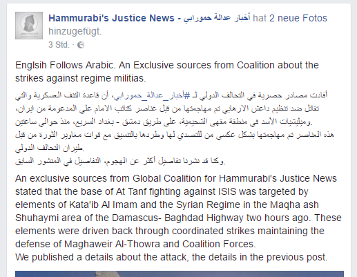 Facebook post published by Hammurabi Justice News account