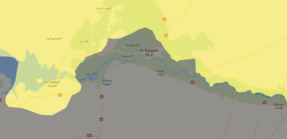 Current situation around Raqqa. Source: globaleventmap.org
