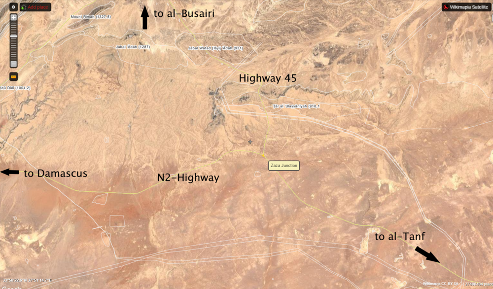 Location of Zaza junction in southeastern Homs, via wikimapia.org