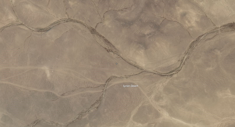 Location of the left turn taken by the convoy, via Bing hybrid map.